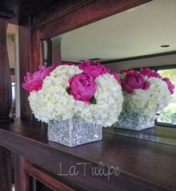 sparkly vas with peonies and hydrangeas