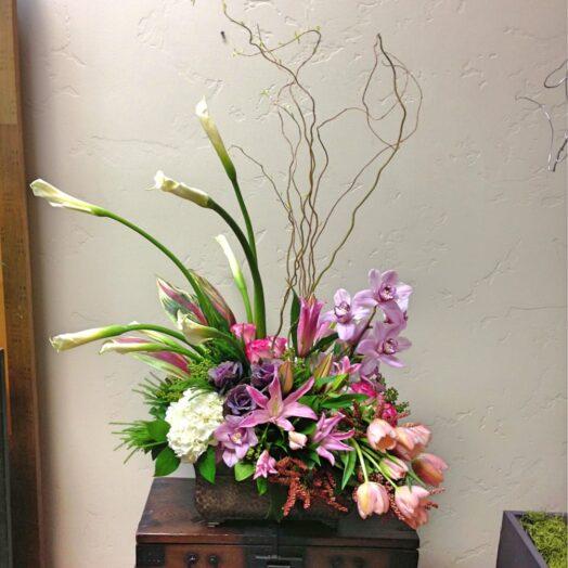 abundant pink and purple flowers