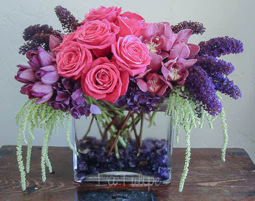pink and purple roses in a vase