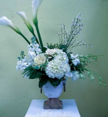 calla lilies and hydrangeas