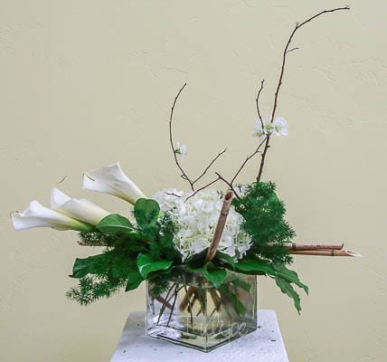 calla lilies and hydrangeas