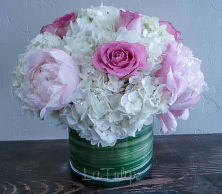 peony and roses in vase