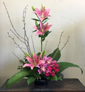 roses, lilies and orchids