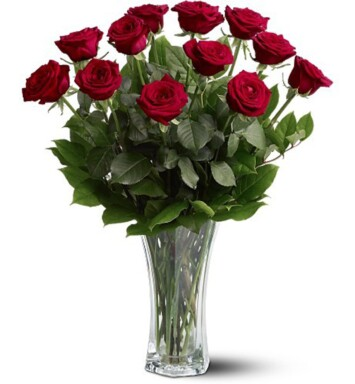 one dozen red long stem roses in a glass vase