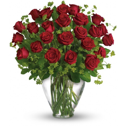 2 dozen red roses in a vase