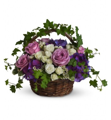purple hydrangea, lavender roses, white spray roses