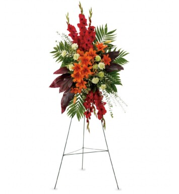 orange Asiatic lilies, red gladioli, green carnations, peach hypericum