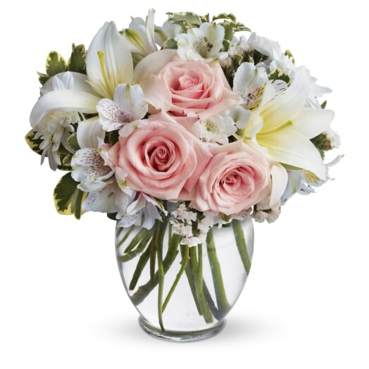 bright white and pink flowers