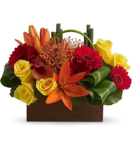 Yellow roses, dark orange miniature callas, orange asiatic lilies