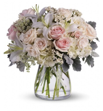 light pink roses, white oriental lilies