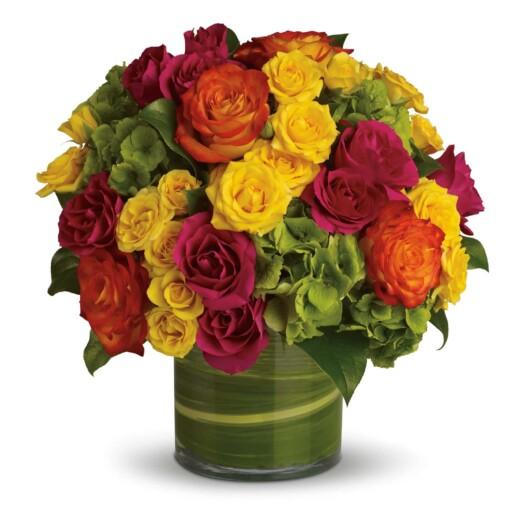 rose and hydrangeas in vase