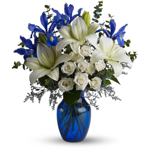 white iris lilies and roses