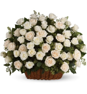 basket of luminous white roses