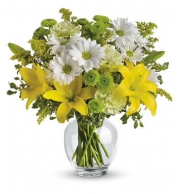 yellow lilies, green carnations