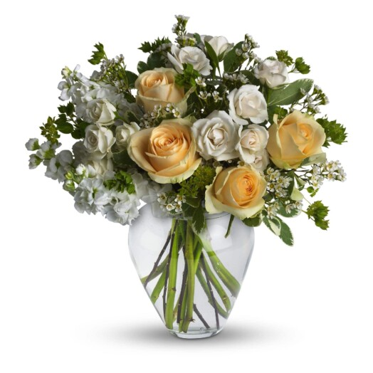 Crème and peach roses are mixed with white stock