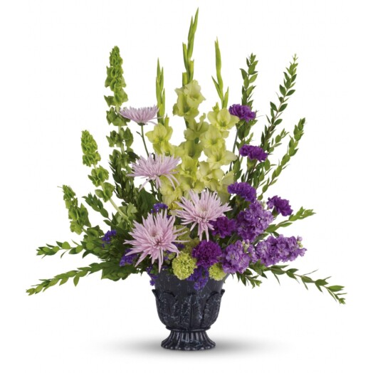 gladioli, lavender stock, green carnations, purple carnations, lavender spider chrysanthemums, bells of Ireland