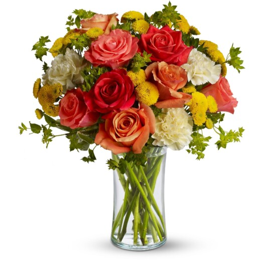 summer rose and carnation bouquet