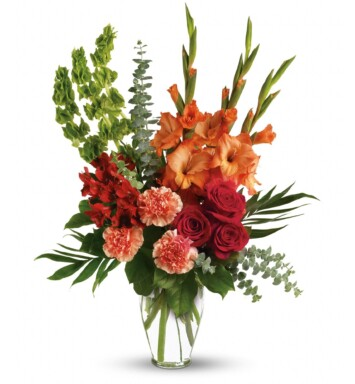 red roses and alstroemeria in a ming vase