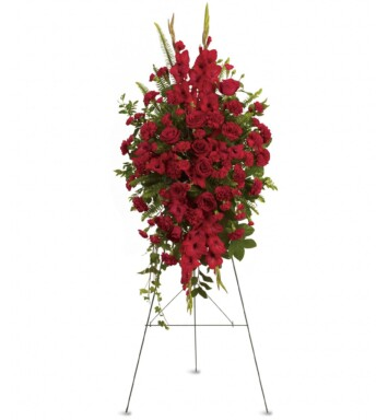 radiant spray of red roses, gladioli