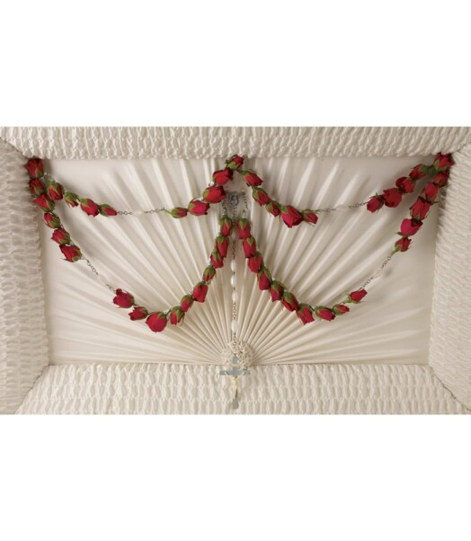 50-bead rosary graced with red roses
