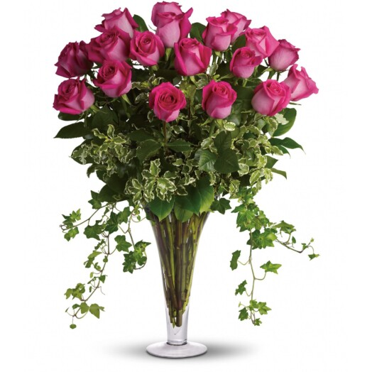 18 pink roses in vase