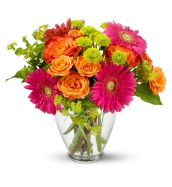 bright carnations and daisies in a vase