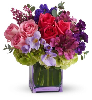 green hydrangea, hot pink and light pink roses, purple alstroemeria,
