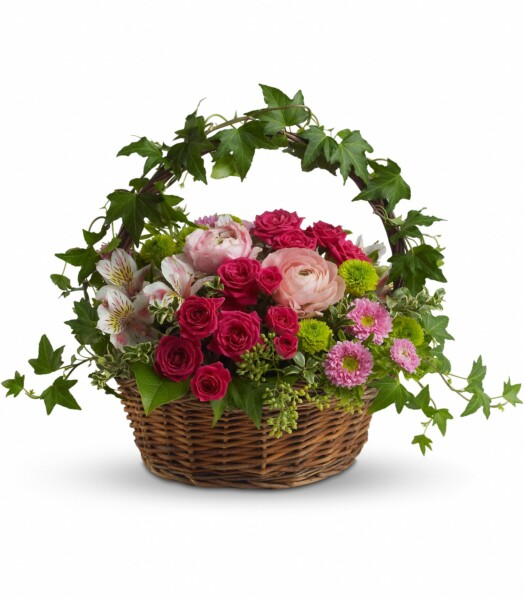 Light orange roses, hot pink roses light pink alstroemeria,