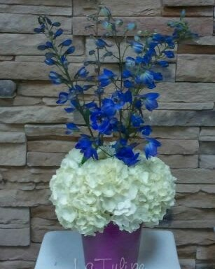 white hydrangeas and blue orchids