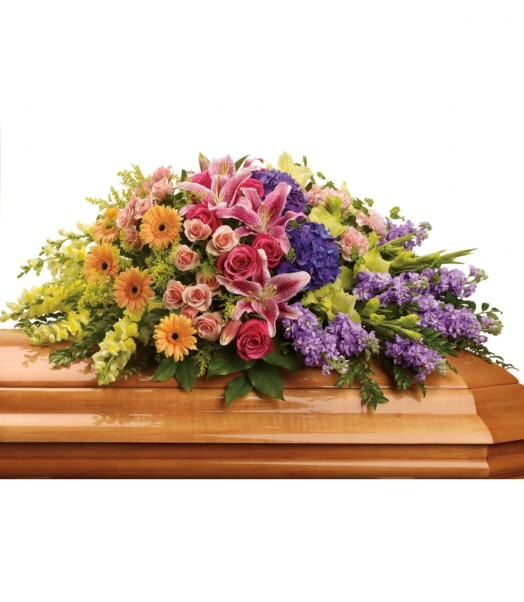 purple hydrangea, hot pink roses, peach spray roses, pink stargazer lilies