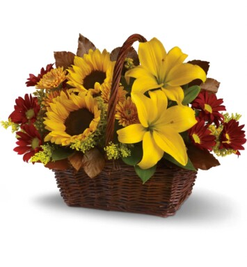 Asiatic Lilies and carnation in basket