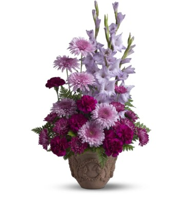 purple cushion spray mums, purple carnations, lavender gladioli