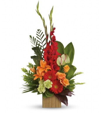 orange roses, orange asiatic lilies, green anthuriums, red gerberas, red gladioli and green carnations