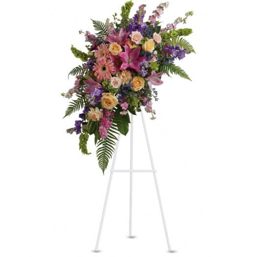 roses, carnations, gerberas, asiatic lilies and larkspur