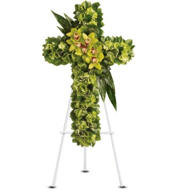 Green hydrangea along with a dazzling mix of exotic green flowers