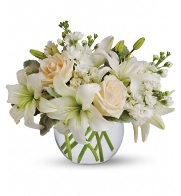 White flowers in a bowl vase