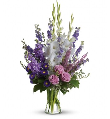 f lavender larkspur and roses, deep purple asters, pure white gladioli