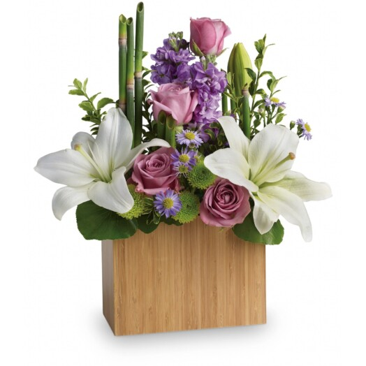 lavender roses with wondrous white lilies