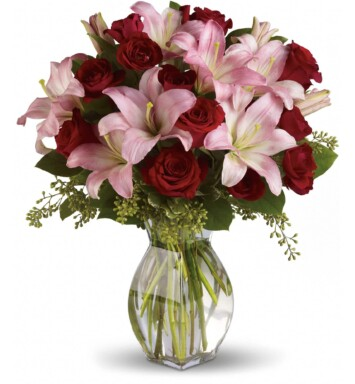 pink and red flowers in a vase