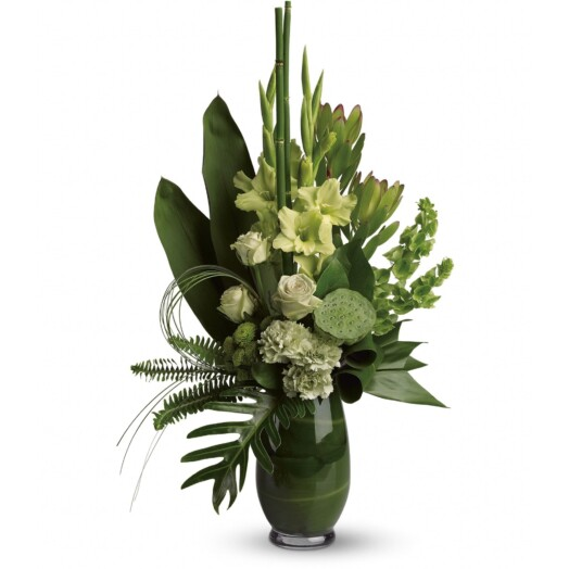 Green roses, gladioli, carnations, lotus pod, leucadendron, bells of Ireland, green button spray chrysanthemums