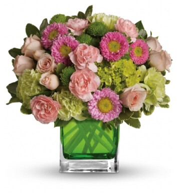 green miniature hydrangea, light pink spray roses, green carnations