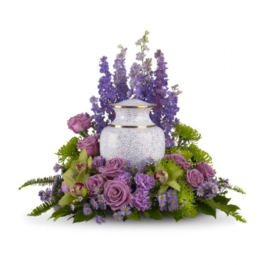 lavender larkspur, roses, carnations and asters, plus, green cymbidium orchids