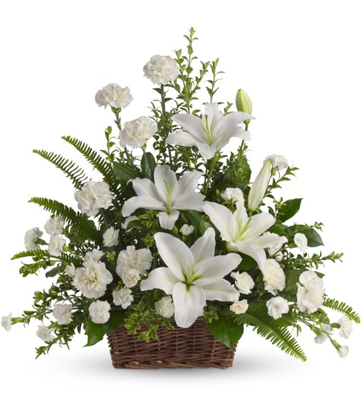 Fresh white oriental lilies and carnations