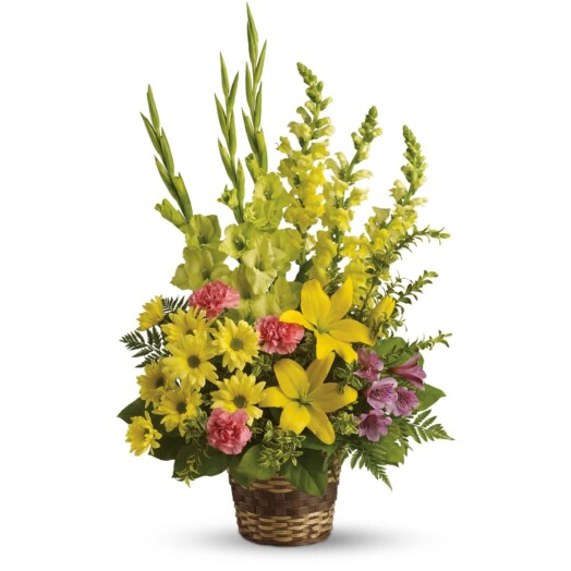 yellow asiatic lilies, yellow gladioli, yellow snapdragons, pink carnations