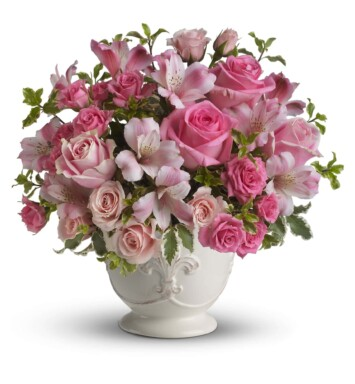 pink roses, pink alstroemeria and green pitta negra