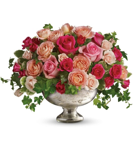 pink and red roses in a bowl
