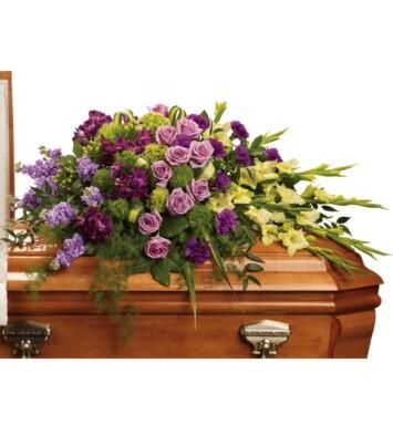 green miniature hydrangea, lavender roses, purple alstroemeria, green gladioli, green trick dianthus