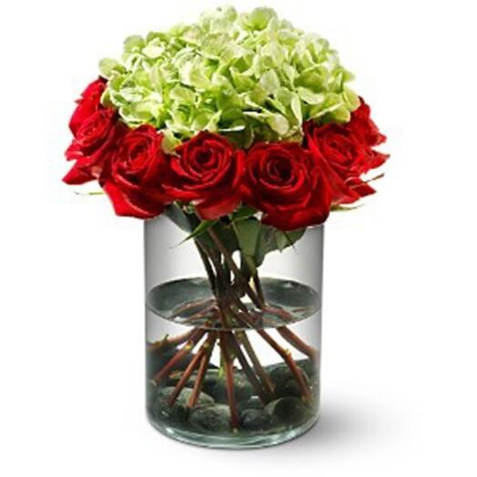 roses and hydrangeas