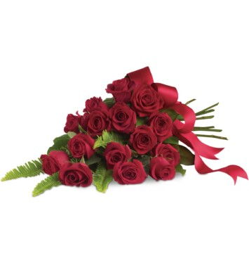 Sixteen classic red roses, hand-tied