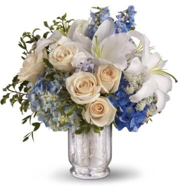 hydrangeas lilies roses centerpiece